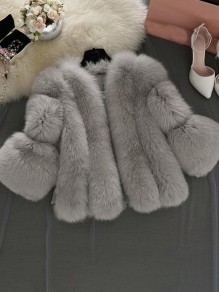 Grey Faux Fur Collarless Long Sleeve Bubble Fur Coat Outerwear