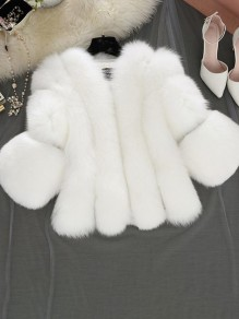 White Faux Fur Collarless Long Sleeve Bubble Fur Coat Outerwear