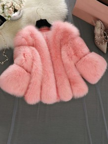 Pink Faux Fur Collarless Long Sleeve Bubble Fur Coat Outerwear