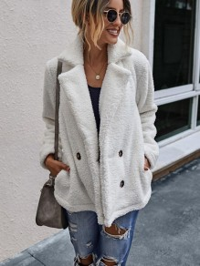 White Double Breasted Turndown Collar Fashion Teddy Outerwear Coat