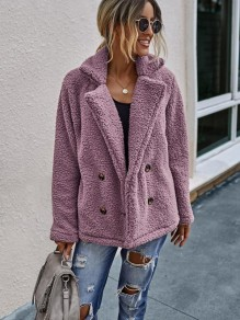 Pink Double Breasted Turndown Collar Fashion Teddy Outerwear Coat