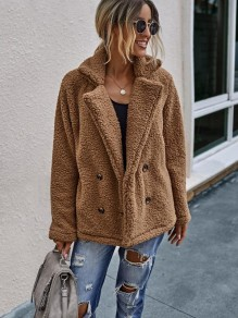Camel Double Breasted Turndown Collar Fashion Teddy Outerwear Coat