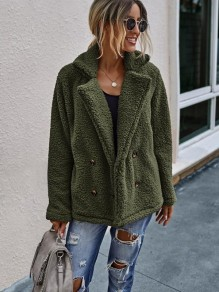 Army Green Double Breasted Turndown Collar Fashion Teddy Outerwear Coat