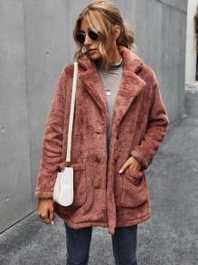 Red Pockets Single Breasted Turndown Collar Fashion Teddy Outerwear Coat