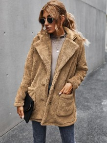 Apricot Pockets Single Breasted Turndown Collar Fashion Teddy Outerwear Coat