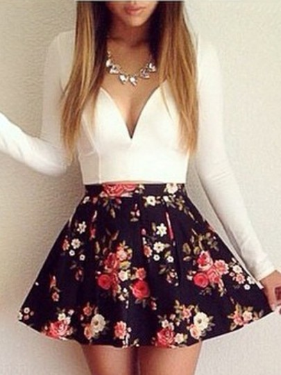 White Floral Patchwork Irregular Low-Cut Dress