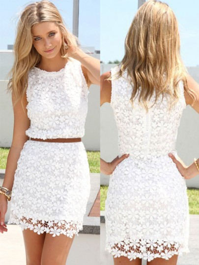 White Floral Hollow-out Bodycon Hip Short Package Crochet Sleeveless Sweet Lace Mini Dress
