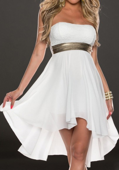 White Irregular Swallowtail Bandeau Off Shoulder High-low Bridesmaid Party Prom Chiffon Mini Dress