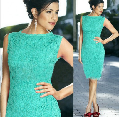 Turquoise Green Lace Hollow-out Zipper Double-deck Knee Length Homecoming Cute Dress