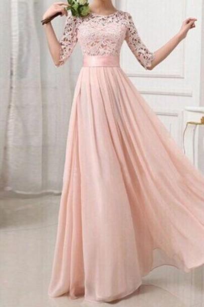 Maxi abito pizzo A pieghe manica gomito chiffon moda abito di sfera di promenade rosa