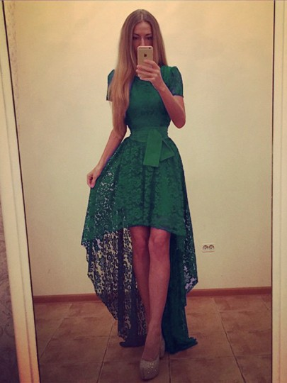 Green Plain Bow Tiered Hollow-out Fashion Maxi Dress