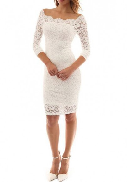 White Plain Lace Hollow-out Off-shoulder Elegant Sexy Bodycon Party Midi Dress