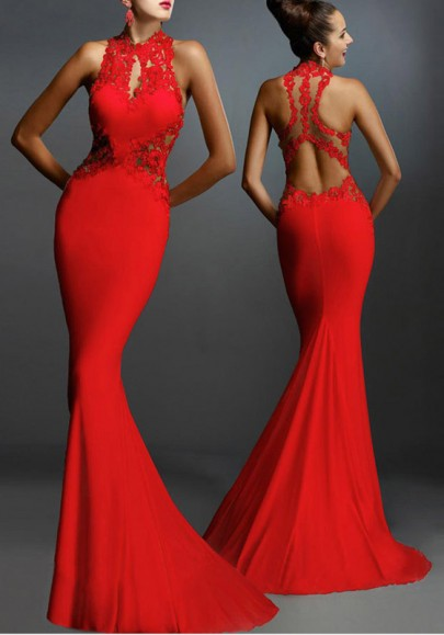 Red Patchwork Lace Sexy Keyhole Round Neck Backless Fishtail Party Polyester Formal Maxi Dress