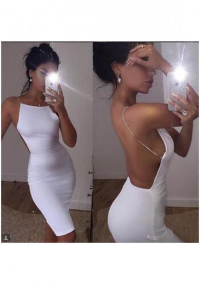 Weiße Ebene Condole Gürtel Rückenfrei Sexy Midi Kleid