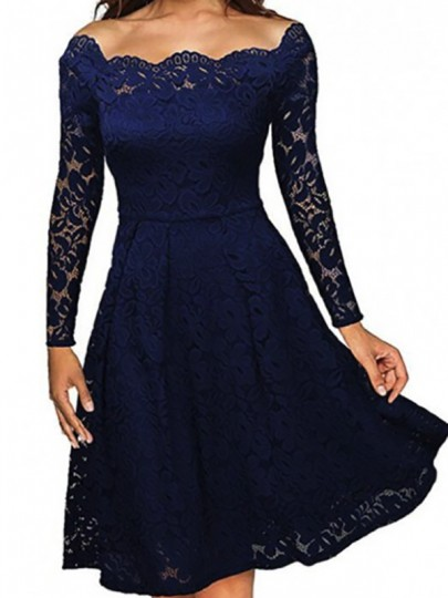 Navy Blue Plain Lace Pleated Hollow-out Boat Neck Off-Shoulder Party Midi Dress