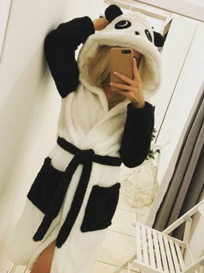Peignoir panda en polaire à capuche ceinture mignon femme pyjama robe noir et blanc