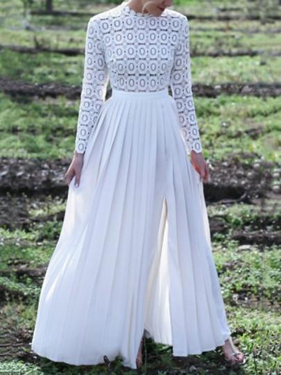 White Lace Side Slit Round Neck Elegant Prom Wedding Party Maxi Long Dress
