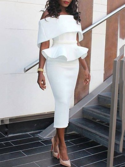 White Ruffle Bandeau Peplum Off Shoulder Elegant Bodycon Church Christening Guest Midi Dress