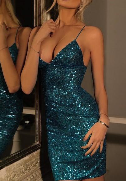 Blau Spaghettiträger Pailletten V-Ausschnitt Sexy Bodycon Enges Minikleid Glitzernkleid Cocktailkleider Partykleid Kurz