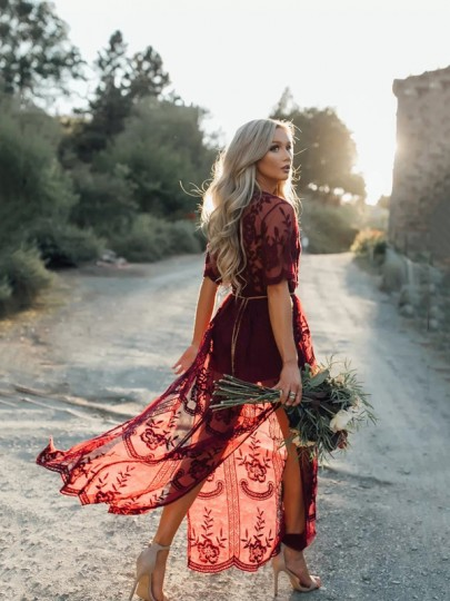 Wine Red Floral Chain Lace Side Slit Sexy Maxi Dress