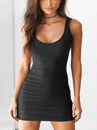 Black Backless Round Neck Sleeveless Sexy Mini Dress