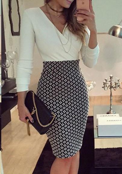 Mi-longue crayon robe v-cou manches longues mode élégant femme de bureau noir et blanc