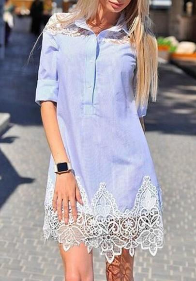 Mini-robe avec dentelle col à revers manches courtes mode chemisier bleu clair