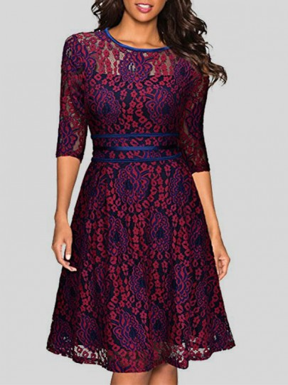 Red Flowers Double-deck Lace Round Neck Elbow Sleeve Midi Dress