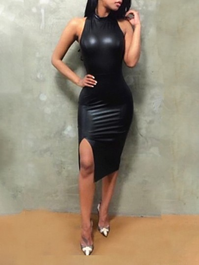 Black Cross Back Backless Cut Out Side Slit PU-Leather Bodycon Birthday Party Club Midi Dress