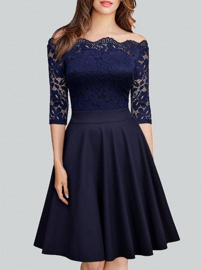 Navy Blue Pleated Lace Off Shoulder Backless 3/4 Sleeve Homecoming Party Cocktail Midi Dress
