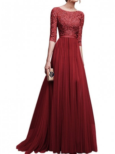Burgundy Patchwork Lace Draped Side Slit Round Neck Elbow Sleeve Maxi Dress