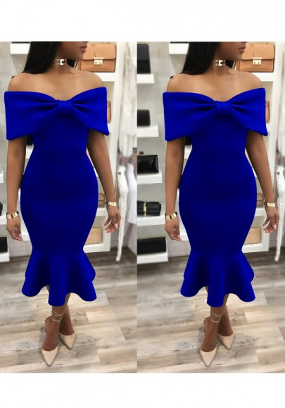 Blue Ruffle Bodycon Banquet Mermaid Bowkont Off Shoulder Elegant Party Midi Dress