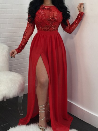 Red Patchwork Sequin Grenadine Draped Side Slit Backless Cocktail Evening Party Maxi Dress