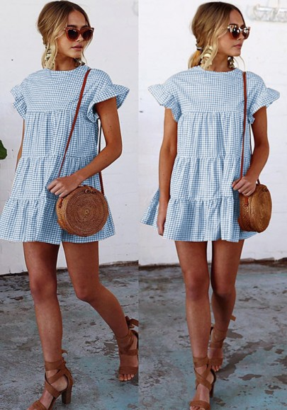 Blue-White Plaid Print Checkered Draped Puff Sleeve Cute Homecoming Party Princess Mini Dress