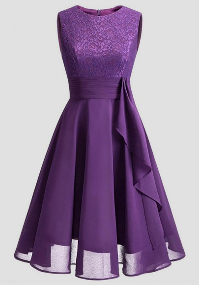 Purple Patchwork Lace Pleated Round Neck Homecoming Party Wedding Bridemaid Prom Elegant Midi Dress