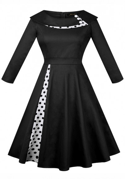 Black Polka Dot Pleated Tutu Turndown Collar Hepburn Vintage Party Midi Dress
