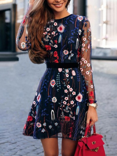 Blue Floral Embroidery Grenadine Long Sleeve High Waisted Mexican Style Mini Dress