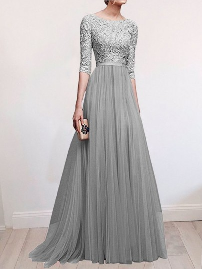 Grey Patchwork Lace Pleated Round Neck Elbow Sleeve Wedding Gowns Maxi Dress