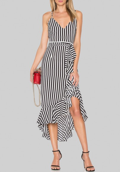 Black-White Striped Irregular Ruffle Draped Spaghetti Strap Backless High-low Graduation Party Midi Dress