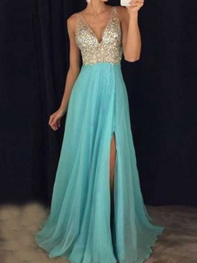 Light Blue Patchwork Sequin Pleated Side Slit Bridesmaid Banquet Party Maxi Dress