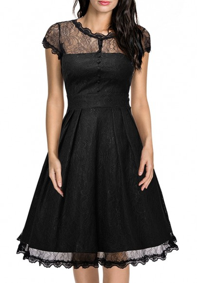 Black Patchwork Lace Pleated Studded Zipper Round Neck Midi Dress