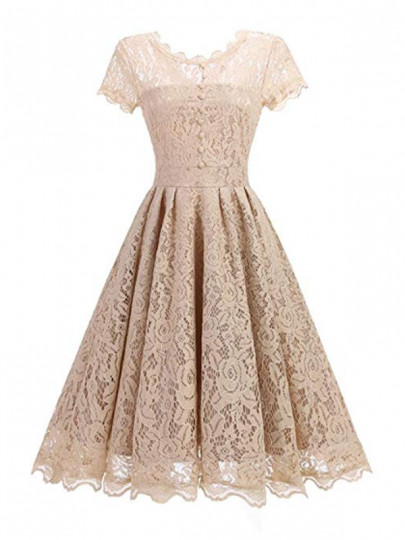 Apricot Patchwork Lace Pleated Studded Zipper Round Neck Midi Dress