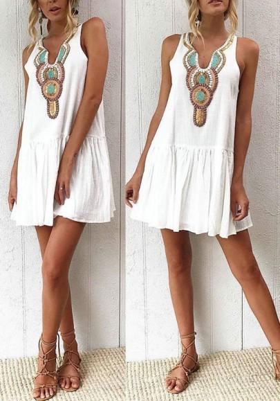 Weiß Tribal Print Stickerei Knöpfen Ärmellos Rüschen A-Linie Mexikanische Schick Bohemian Minikleid Strandkleid Sommerkleid