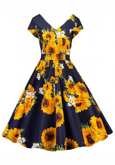 Navy Blue Sunflower Print Draped V-neck Vintage Party Prom Skater Midi Dress