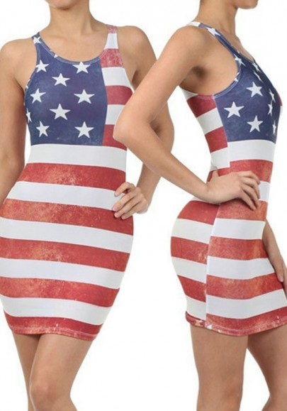 Blue The Stars And Striped Print American Flag Going out Casual Mini Dress