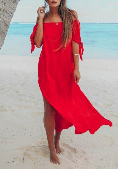 Red Side Slit Off Shoulder Backless Flowy Bohemian Beach Wedding Party Maxi Dress