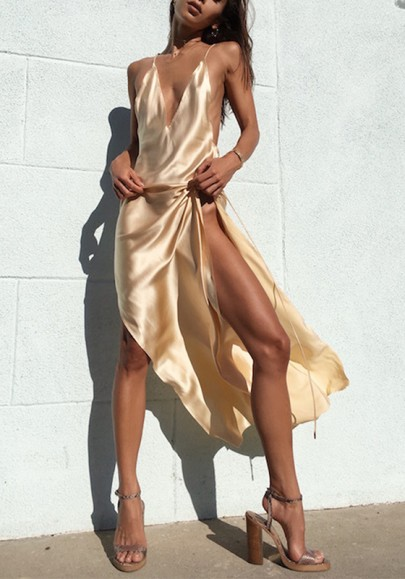 Beige Cut Out Tie Back V-neck Party Maxi Dress