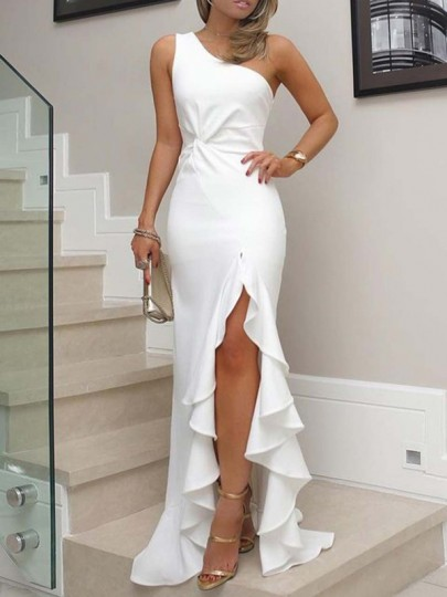 White Ruffle Irregular Asymmetric Shoulder Side Slit Ruched Elegant Wedding Prom Banquet Homecoming Graduation Party Maxi Dress
