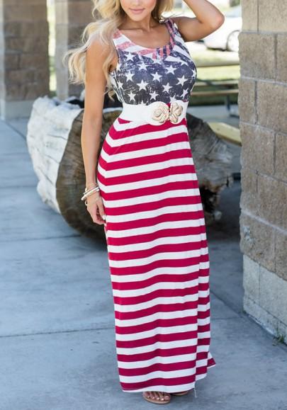 Robe maxi motif drapeau américain fête de l'indépendance col rond occasionnel rouge-blanc
