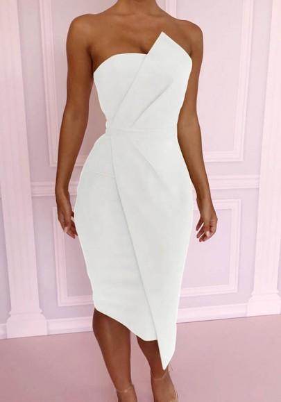 Midi-robe fermeture éclair irrégulière bandeau à bodycon élégante soirée blanc